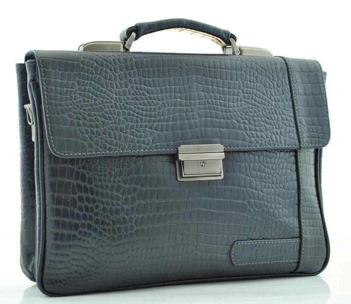 Мужской кожаный портфель 84165 синий