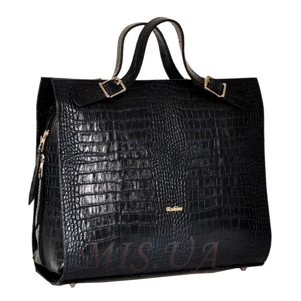 Женская кожаная сумка - портфель 2528 темно-синяя