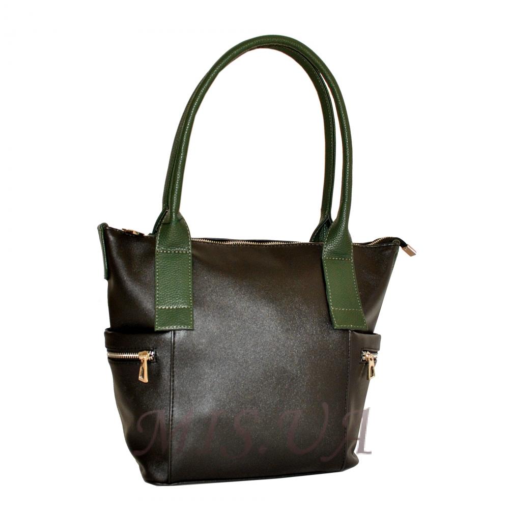Женская сумка 35586  черная с зеленым